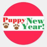 ¡Año Nuevo del perrito! Pegatinas Redondas