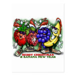 Año Nuevo del plátano del navidad de la baya Tarjeta Postal