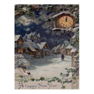 Año Nuevo del reloj del pueblo del invierno Postal