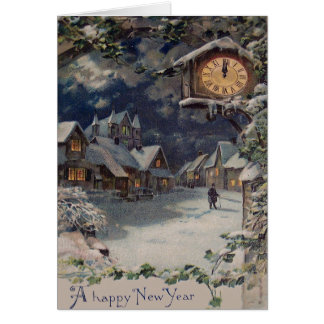 Año Nuevo del reloj del pueblo del invierno Tarjeta De Felicitación