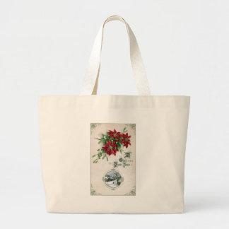 Año Nuevo del vintage de los Poinsettias, del muér Bolsa
