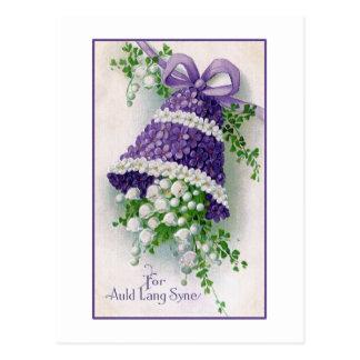 Año Nuevo del vintage floral de Bell Tarjeta Postal