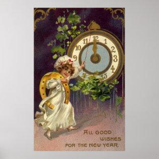 Año Nuevo del vintage Impresiones