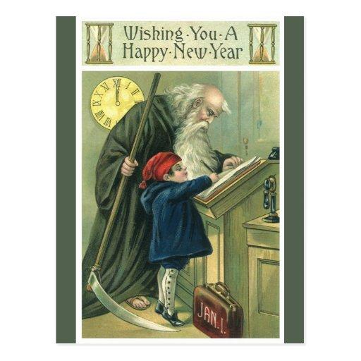 Año Nuevo del vintage Postales