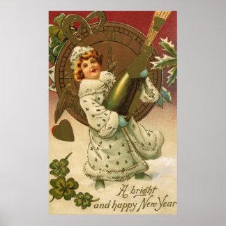 Año Nuevo del vintage Póster