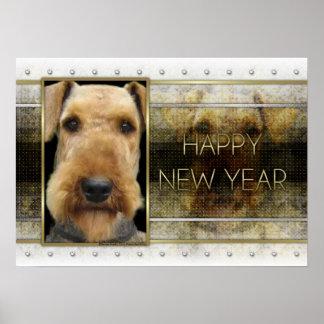 Año Nuevo - elegancia de oro - Airedale Póster