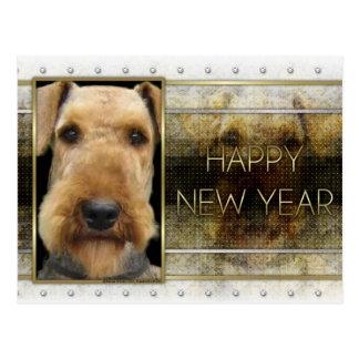 Año Nuevo - elegancia de oro - Airedale Tarjeta Postal