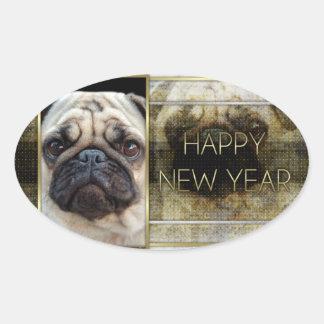 Año Nuevo - elegancia de oro - barro amasado Pegatinas De Ovaladas