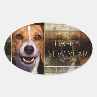 Año Nuevo - elegancia de oro - beagle Calcomania Óval