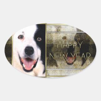 Año Nuevo - elegancia de oro - border collie Calcomania Ovalada