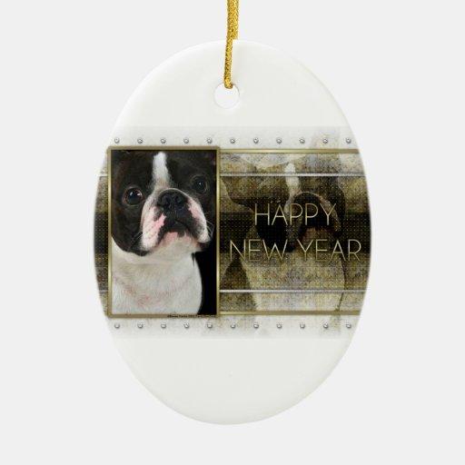 Año Nuevo - elegancia de oro - Boston Terrier Ornamentos De Reyes Magos