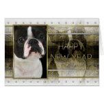 Año Nuevo - elegancia de oro - Boston Terrier Felicitación