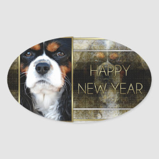 Año Nuevo - elegancia de oro - caballeros Colcomanias De Oval