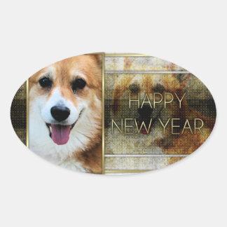 Año Nuevo - elegancia de oro - Corgi - Owen Calcomanías De Óvales