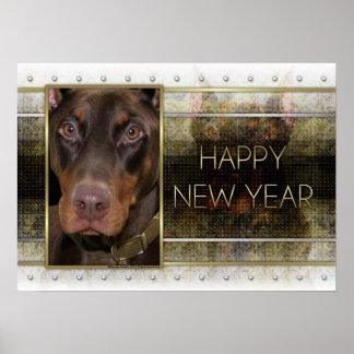 Año Nuevo - elegancia de oro - Doberman - rojo - R Impresiones