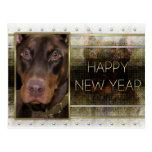 Año Nuevo - elegancia de oro - Doberman - rojo - R Tarjeta Postal