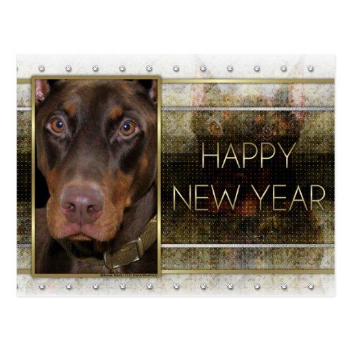 Año Nuevo - elegancia de oro - Doberman - rojo - Tarjetas Postales