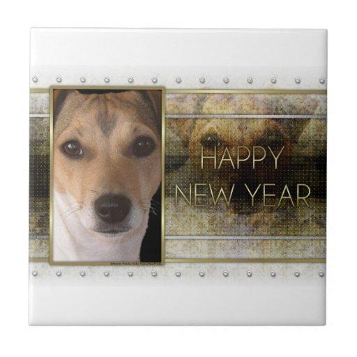 Año Nuevo - elegancia de oro - Jack Russell Tejas Cerámicas