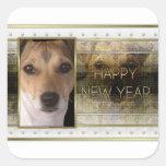 Año Nuevo - elegancia de oro - Jack Russell Pegatinas Cuadradases
