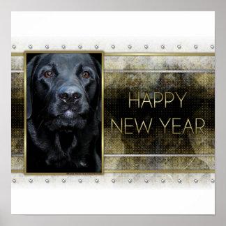 Año Nuevo - elegancia de oro - Labrador - indicado Posters