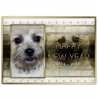 Año Nuevo - elegancia de oro - mojón Terrier Esculturas Fotográficas