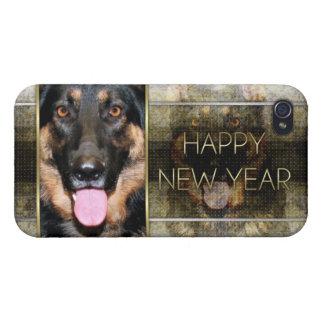 Año Nuevo - elegancia de oro - pastor alemán Kuno iPhone 4/4S Carcasa