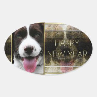Año Nuevo - elegancia de oro - perro de aguas de Colcomanias Oval Personalizadas