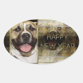 Año Nuevo - elegancia de oro - Pitbull Tigger Colcomanias De Oval