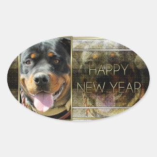 Año Nuevo - elegancia de oro - Rottweiler Pegatina Ovalada