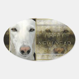 Año Nuevo - elegancia de oro - Saluki Calcomania Oval Personalizadas
