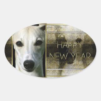 Año Nuevo - elegancia de oro - Whippet Calcomanías De Óvales