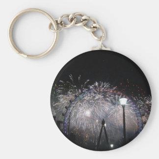 Año Nuevo en el ojo de Londres Llavero Redondo Tipo Pin