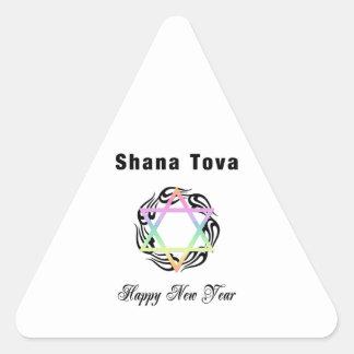 Año Nuevo judío Shana Tova Colcomanias Triangulo