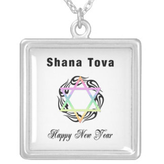 Año Nuevo judío Shana Tova Colgante Cuadrado