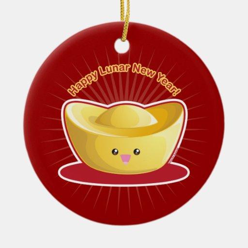 ¡Año Nuevo lunar feliz! Adorno Navideño Redondo De Cerámica