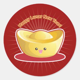¡Año Nuevo lunar feliz! Etiqueta Redonda