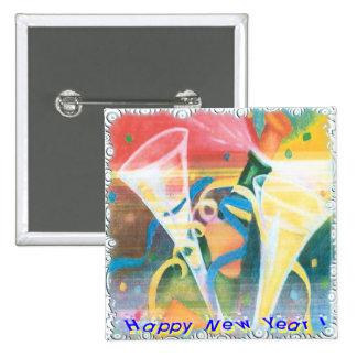 Año Nuevo pintado Pin Cuadrado