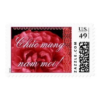 Año Nuevo vietnamita con el rosa rojo Sello