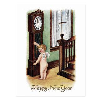 Año Nuevo y reloj de pie del bebé Tarjeta Postal