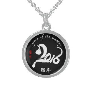 Año personalizado del mono - Año Nuevo chino Collar De Plata De Ley