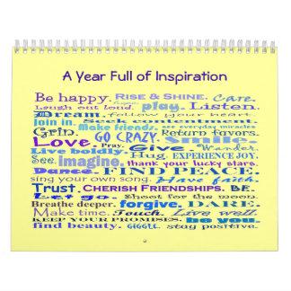 año por completo de calendario de la inspiración