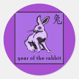 Año púrpura de los regalos y de la ropa del conejo pegatinas redondas