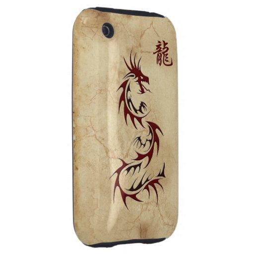 AÑO ROJO del DRAGÓN del caso asiático del iPhone 5 Tough iPhone 3 Funda