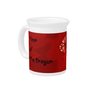 Año rojo del dragón jarrones
