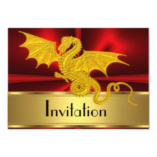 Año rojo del oro de la invitación del dragón