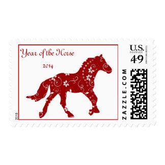 Año rojo del sello del caballo