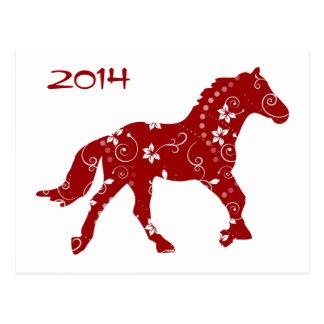 Año rojo y blanco de la postal del caballo