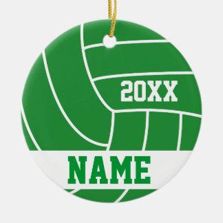 Año verde personalizado del voleibol ornaments para arbol de navidad