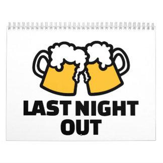 Anoche hacia fuera cerveza calendarios