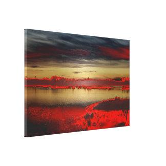 Anochece en la laguna creación libre de colores lienzo envuelto para galerias